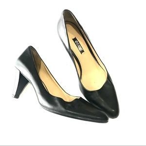 ECCO Black Soft Leather Pointed Toe Pump Heels